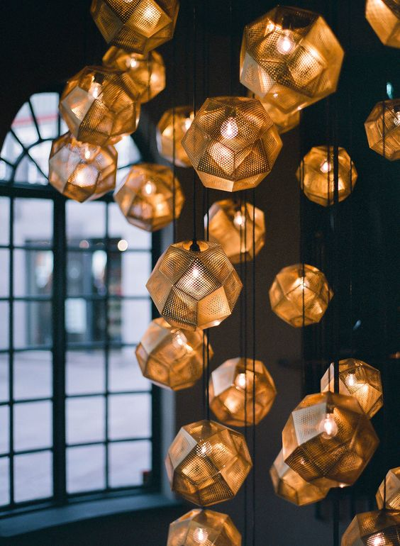 amazing faceted pendant lamps in clusters will highlight high ceilings and staircases