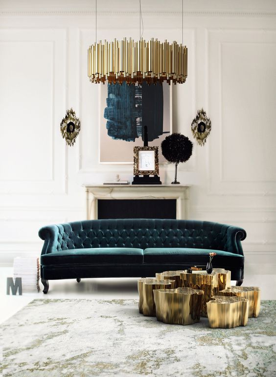 a refined forest green tufted sofa makes a statement with color and with its texture