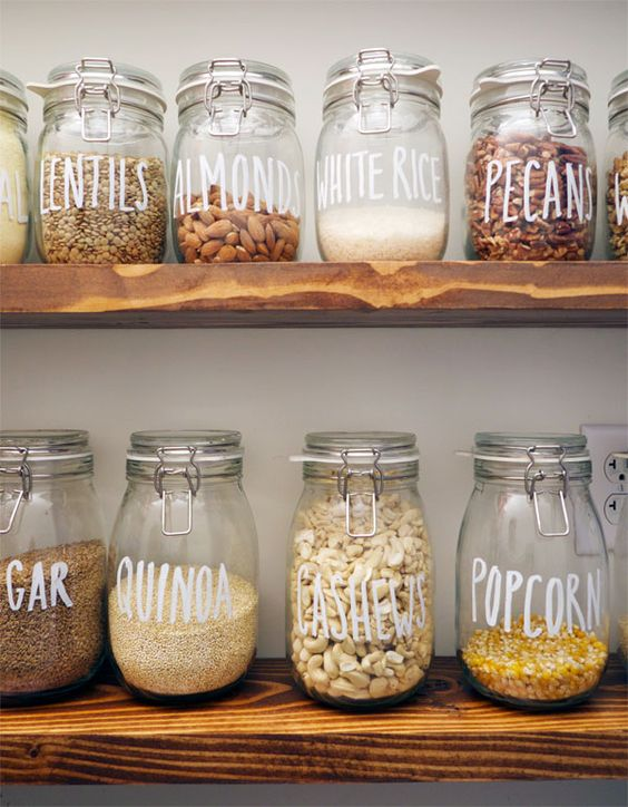 such stylish large jars for storage can be labeled just using a usual sharpie