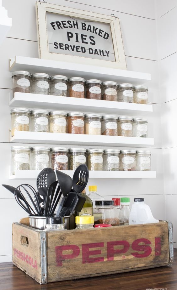 IKEA Ribba ledges turned into a spice jar holder will save a lot of space keeping your kitchen organized