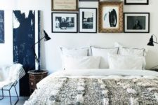 19 a printed rug and a fur throw are sure to make the bedroom more winter-like and cozier