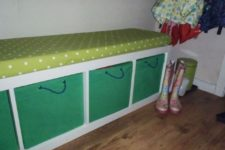 19 an upholstered bench with Drona boxes with cord handles added for more comfort