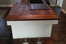 20 a kitchen island with a shelf that contains the bowls is a very comfy idea for your pet to use