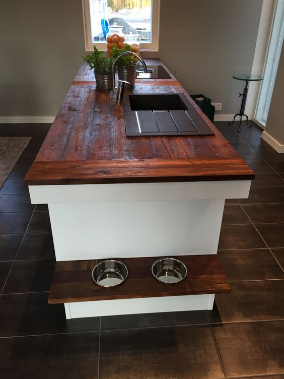 a kitchen island with a shelf that contains the bowls is a very comfy idea for your pet to use