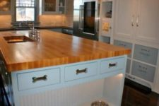 21 a kitchen island with an additional pet food station with lights and drawers for dog accessories