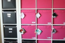 21 build your own storage with Ikea Expedit shelves, Drona pink fabric boxes and Kassett black boxes
