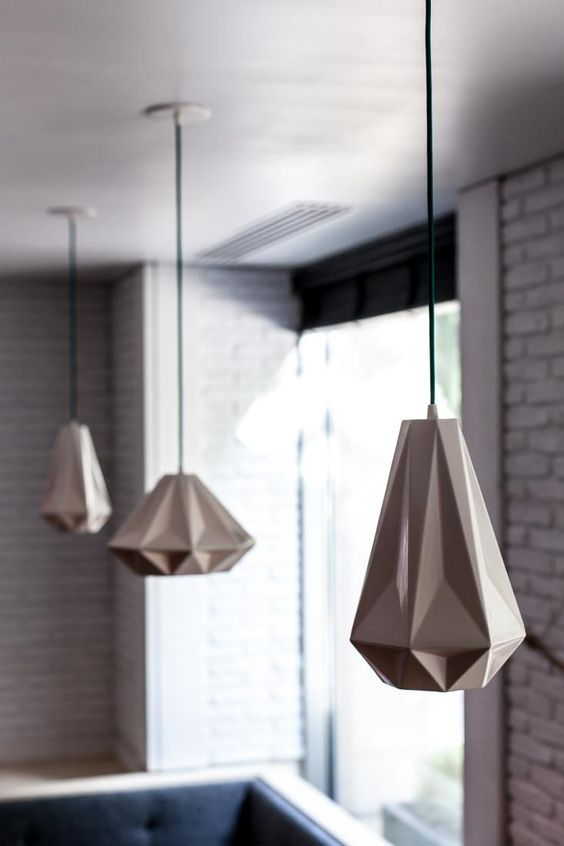 goemetric faceted pendant lamps in the kitchen will make your space wow