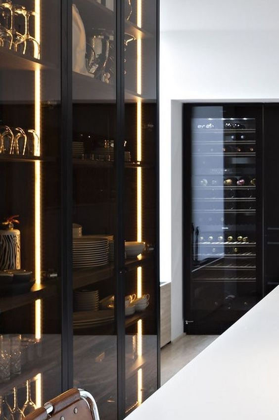 lit up smoke glass kitchen cabinets are ideal for masculine or minimalist spaces and look edgy