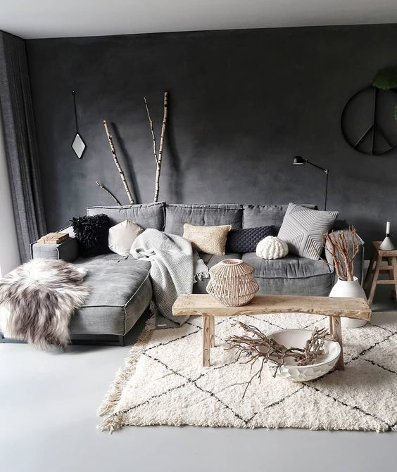 a fluffy boho Moroccan rug adds interest and texture to the space with faux fur and knit pillows