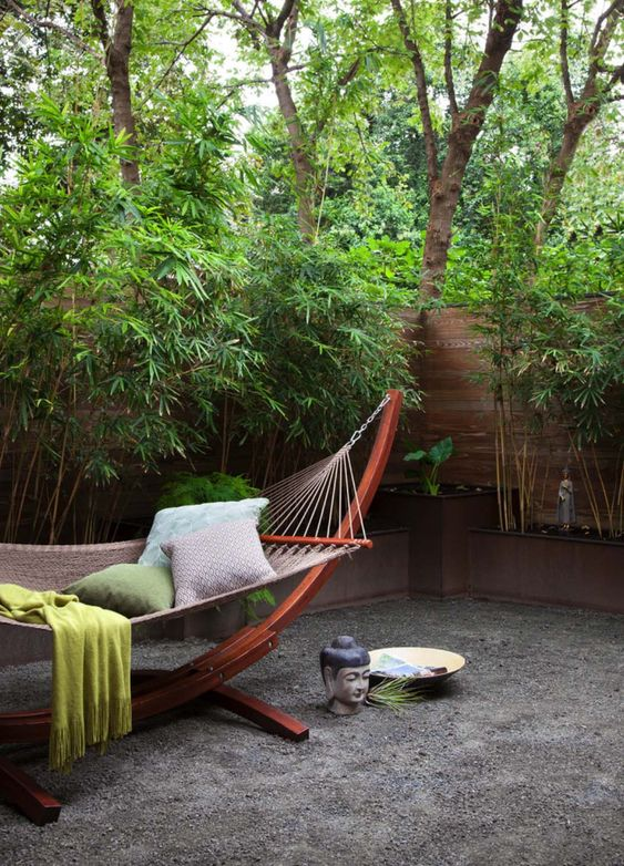 hang a hammock outside to create a very relaxing and welcoming space