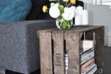 23 a stained and printed Knagglig box on casters makes up a chic bedside table, which is also mobile