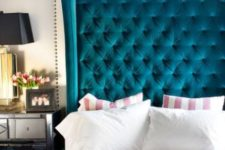 24 a statement teal tufted headboard is a thing that will be always in trend and will add a sophisticated touch