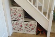 25 DIY understairs storage drawers using Ikea Drona boxes two deep, the bottom ones are mounted on a board on castors so they pull smoothly in and out