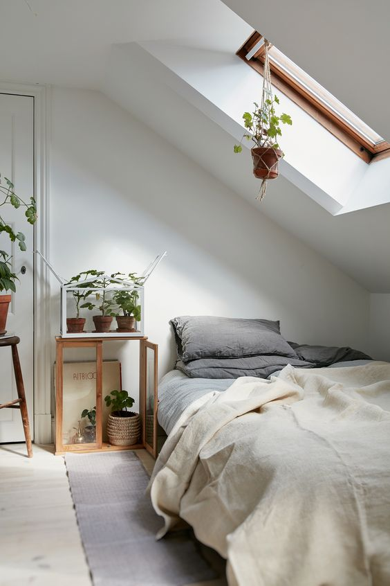 such an attic bedroom with much potted greenery creates a cozy and relaxing sleeping space