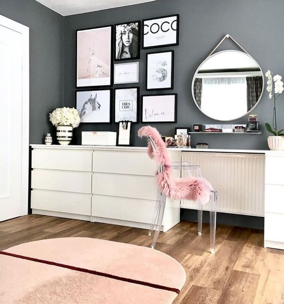 an acrylic chair covered with pink fur is a nice idea to incorporate a seating piece into your bedroom while giving it a function