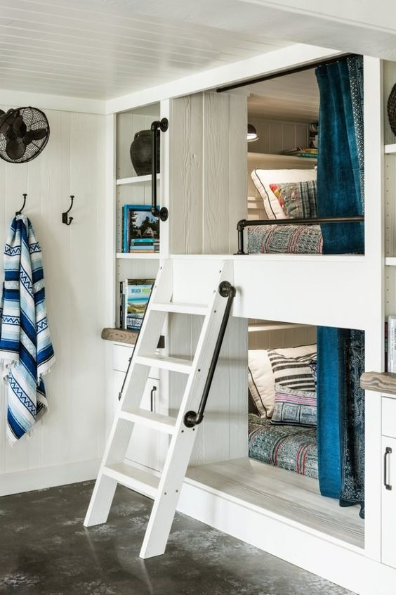 even a small bedroom can accommodate a built-in bunk bed when it's not enough space for two separate ones