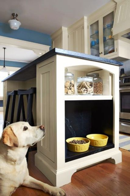 integrate a pet feeding alcove into your kitchen island and make a small shelf with dog treats above it