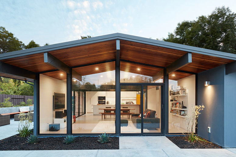 This mid century modern home is done in classic Eichler style, there are no trendy touches, only mid century modern classics