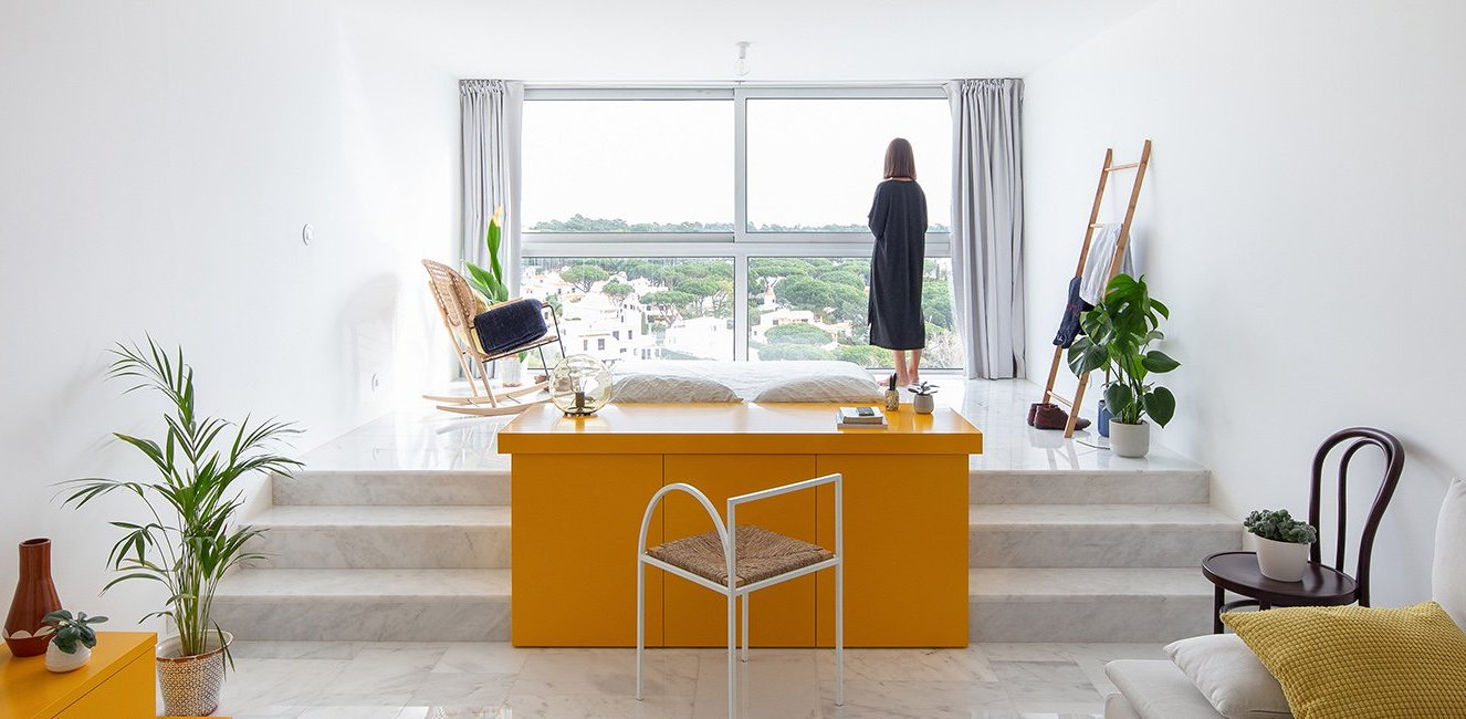 This unique studio apartment is a space between sculpture and architecture, it's about experience of living and changing the space as you like