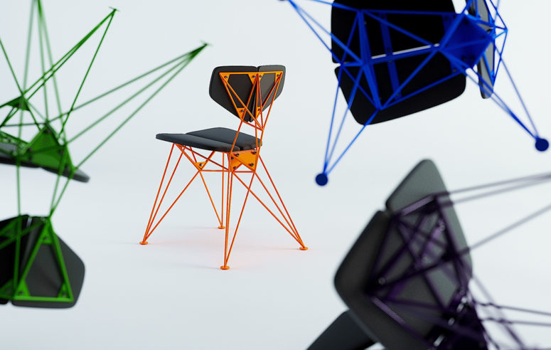 The chairs feature bold and neon colors and a fantastic geometric base in neon shades