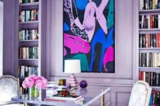 bold glam living room design in pastel lilac