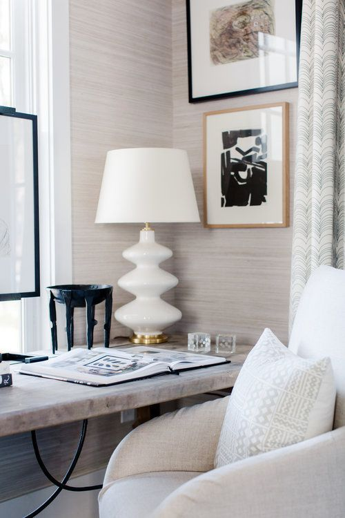 neutral printed wallpaper is a great idea to spruce up your home office adding elegance