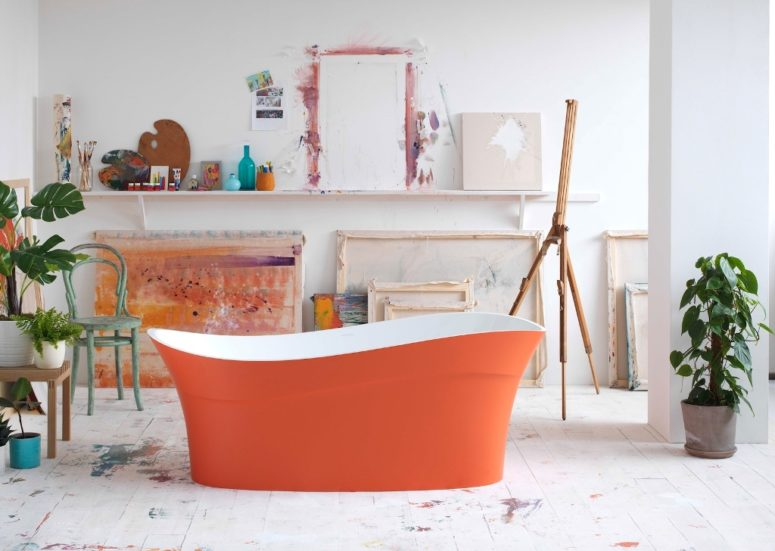 Nearly every bathtub by Victoria + Albert can be done in bright colors