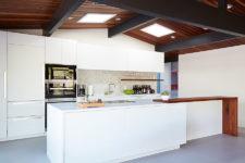 kitchen with a penny tile backpslash