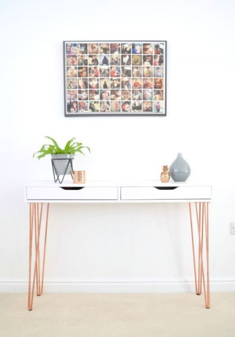 a chic Ekby Alex hack into a modern console with copper hairpin legs is a cool idea for every entryway