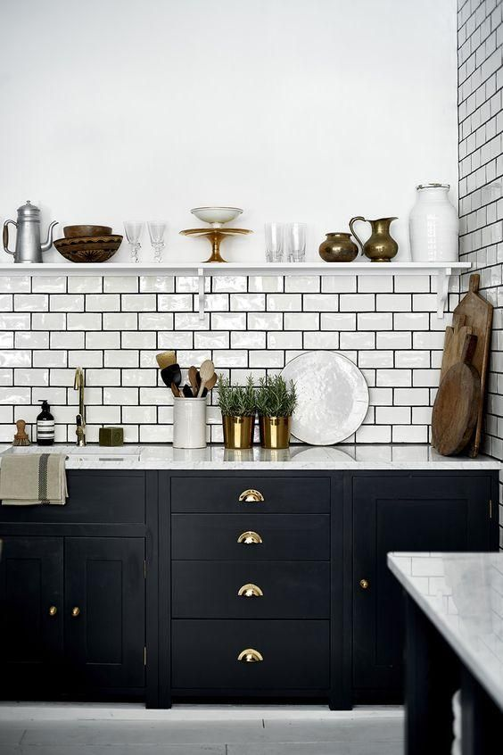 brass handles are a classic idea for every kitchen, this is timeless chic to go for