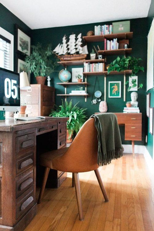 go green to feel like outside still being inside, it's a gorgeous idea for every space, not only a home office