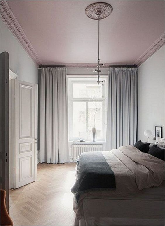 if your space is so neutral, a dusty rose ceiling can be a bold pastel statement that doesn't break the color scheme