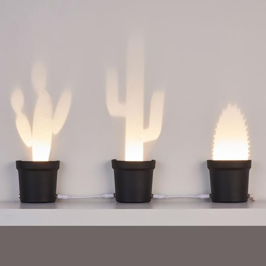 Here are all the three cactus shaped lamps as an arrangement