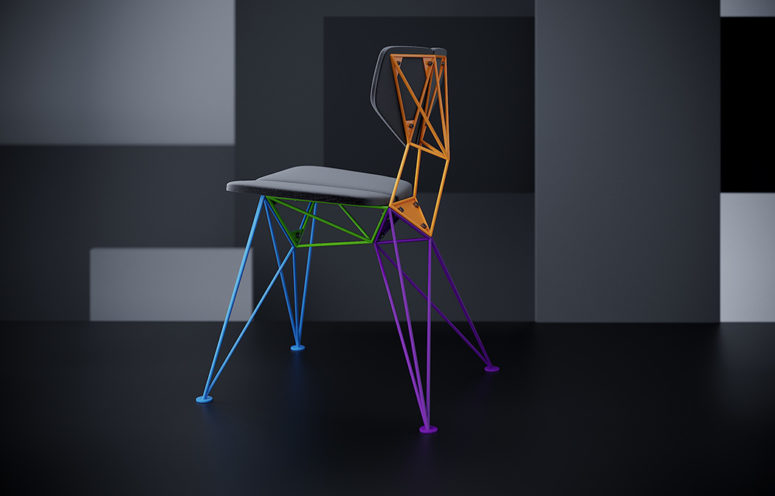 You may choose a chair not only with a solid color base but also with colorful parts
