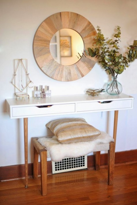 a chic makeover of an Ekby Alex unit into a tiny vanity with wooden legs, a mirror in a wooden frame and a matching bench