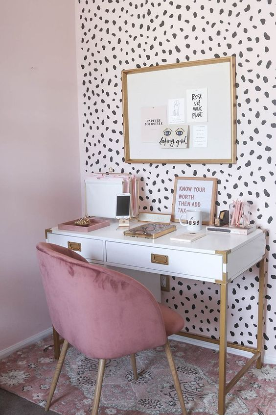 a statement wall done with cheetah wallpaper is a gorgeous and playful idea for a girlish space