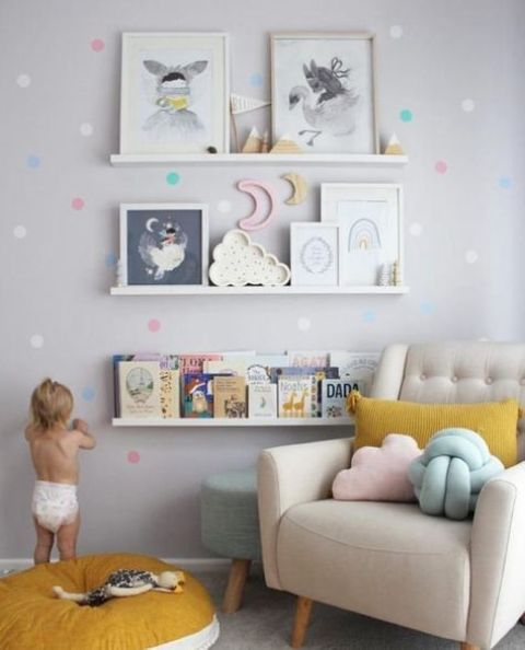 spruce up a wall with colorful decals that match the nursery's accessories in color