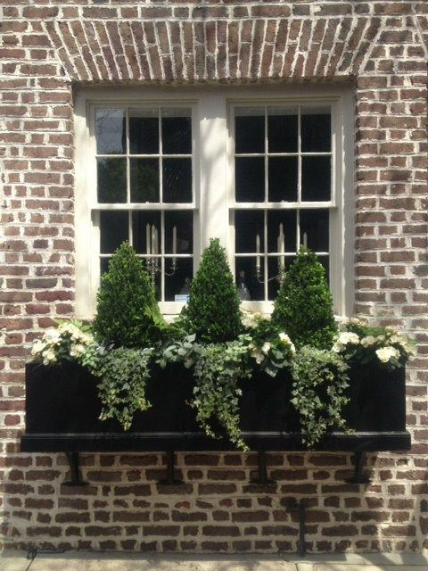 a black window box planter with greenery, white blooms and tiny trees refreshes the look at once