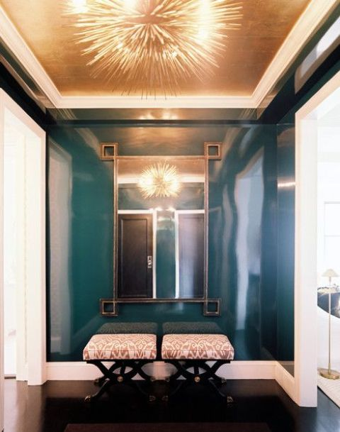 a combo of teal and copper is a very refined and chic idea, add a fantastic mirror and stools