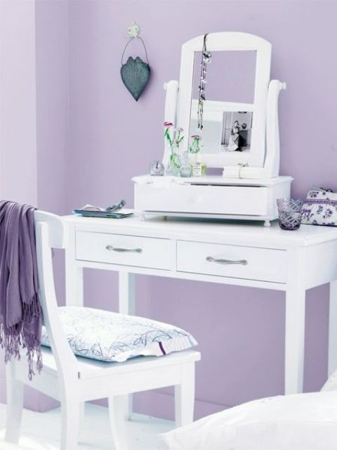 a dressing room done in lilac and white is a sophiticated idea with strong vintage vibes