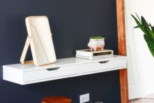 07 a floating vanity made of an Ekby Alex unit attached to the wall is a great idea for a small space