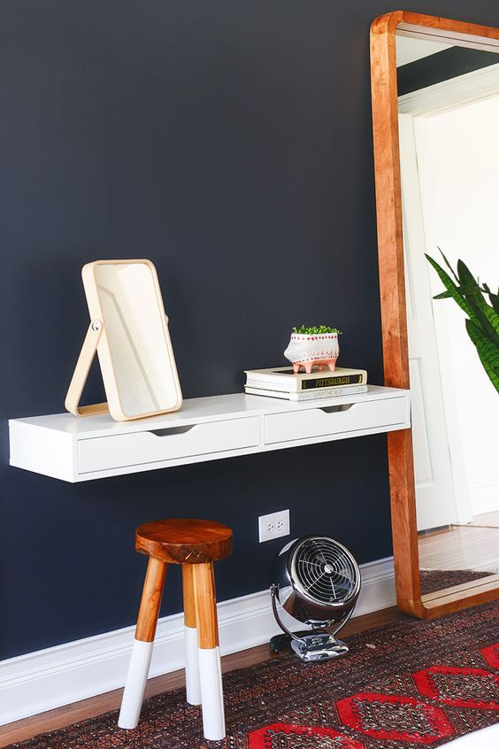 a floating vanity made of an Ekby Alex unit attached to the wall is a great idea for a small space