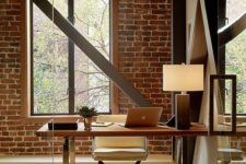 07 a home office with brick walls is a bold idea with much texture, add beams for more eye-catchiness