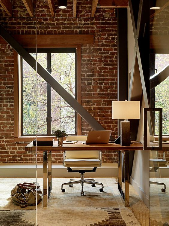 a home office with brick walls is a bold idea with much texture, add beams for more eye-catchiness