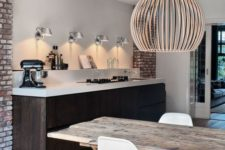 08 a dark stained kitchen island is a dominant piece in the whole space, it makes a statement