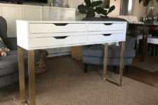 08 a modern makeup table of two Ekby Alex storage units and chic gold legs with a geometric touch