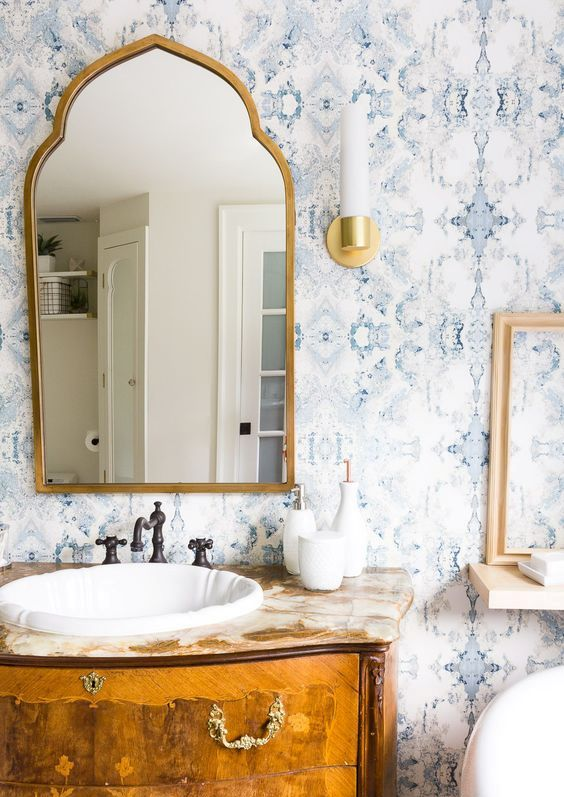 add a touch of vintage with beautiful light blue printed wallpaper like this