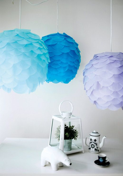 Regolit lampshades from IKEA turned into colorful artichoke lamps with paper scales
