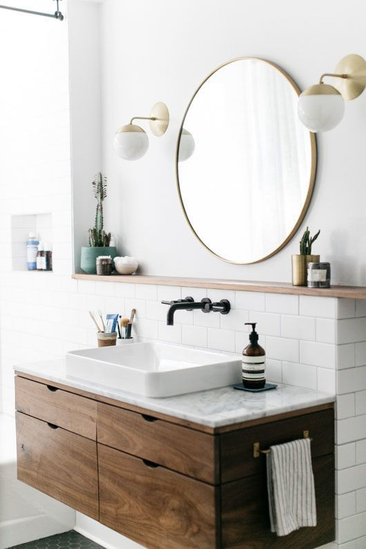 a floating wooden vanity with a stylish stone countertop will completely change the look of your bathroom