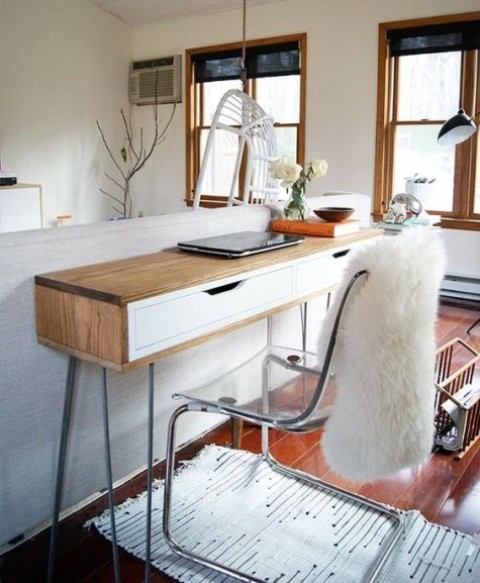 a modern slim desk with a wooden wrap made of an Ekby Alex shelf and hairpin legs won't take much space
